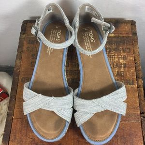 Toms light grey canvas & jute sandals 6